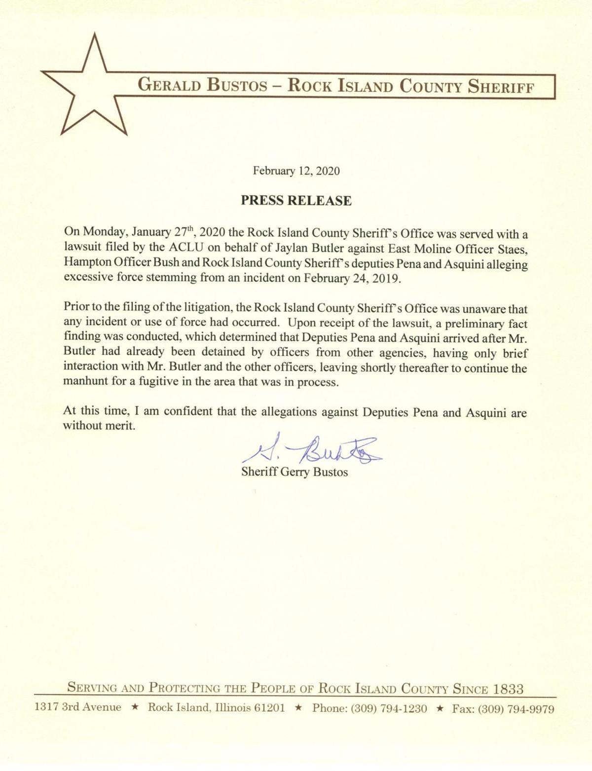 Rock Island Sheriff's Office Press release
