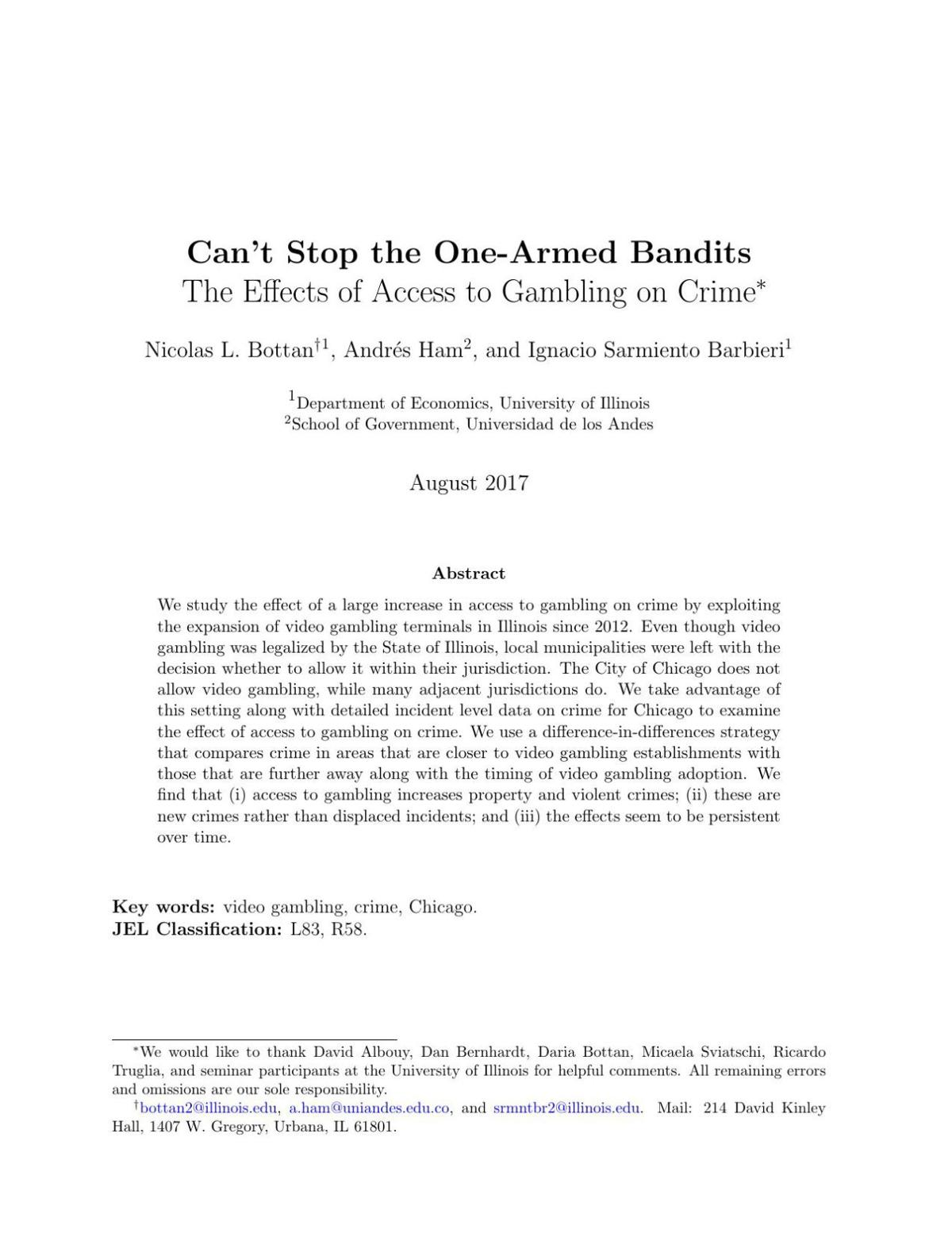"""""""Can't Stop the One-Armed Bandits: The Effects of Access to Gambling on Crime"""""""