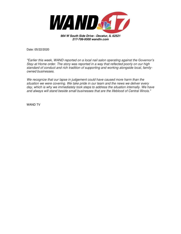 WAND Statement on story about local nail salon on 5/19/20