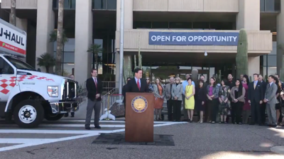 FILE - AZ Gov. Doug Ducey signs occupational licensing reciprocity law