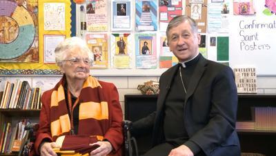 FILE - Sister Jean, Cardinal Blase J. Cupich promote tax-credit scholarships
