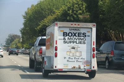 FILE - U-Haul, moving van
