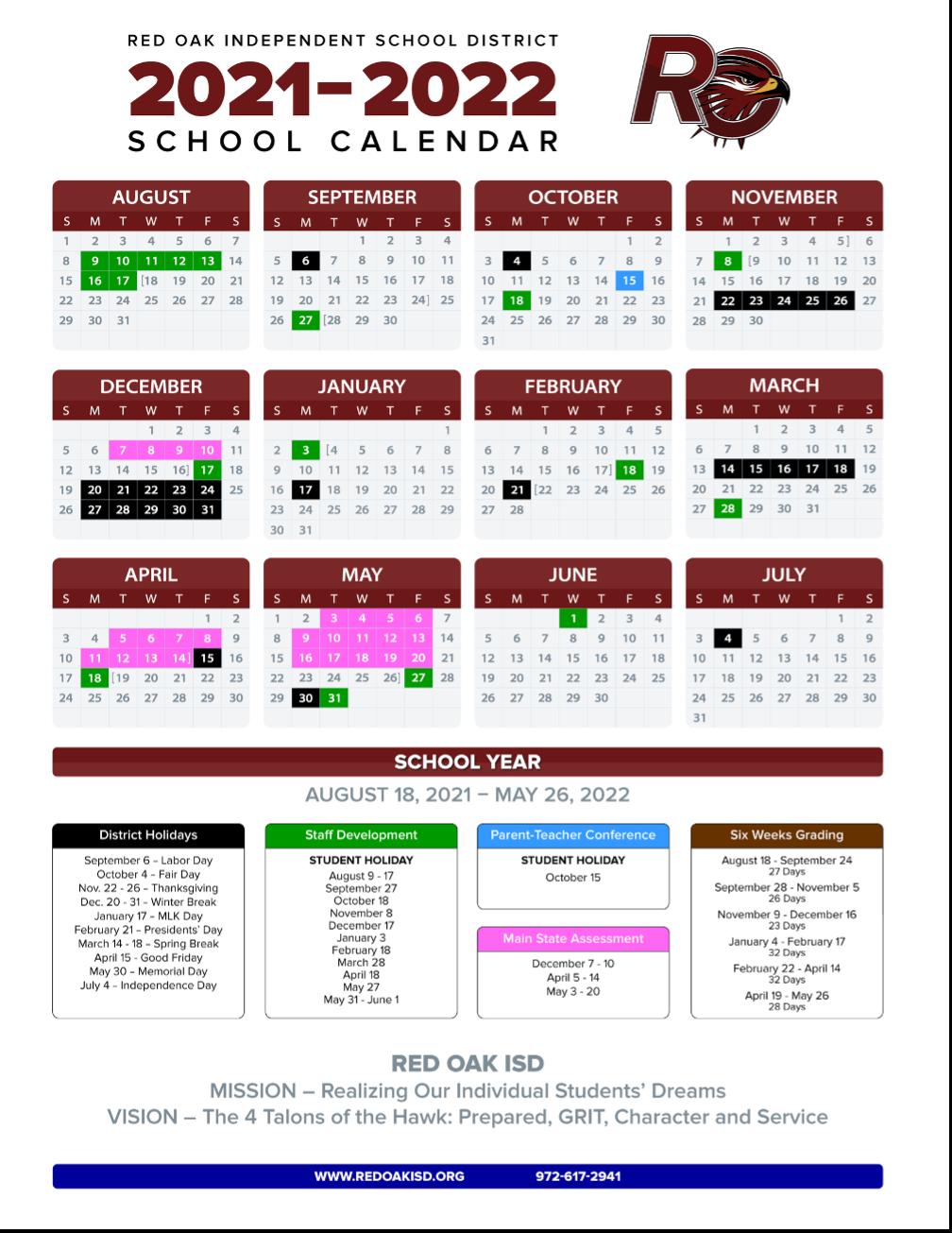 Uta Fall 2022 Calendar.Roisd Board Approves Calendar For 2021 22 School Year Education Waxahachiesun Com
