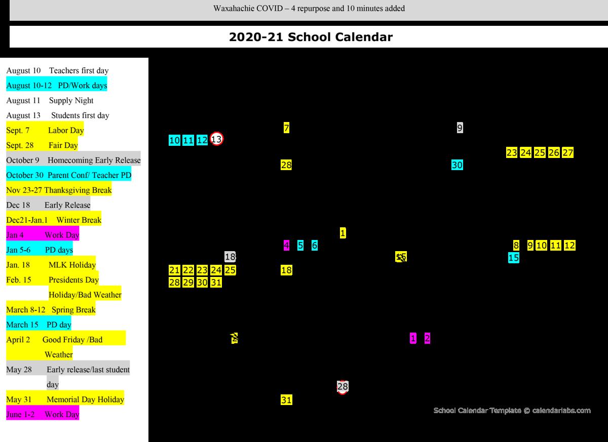 Working Days Calendar 2021 Images