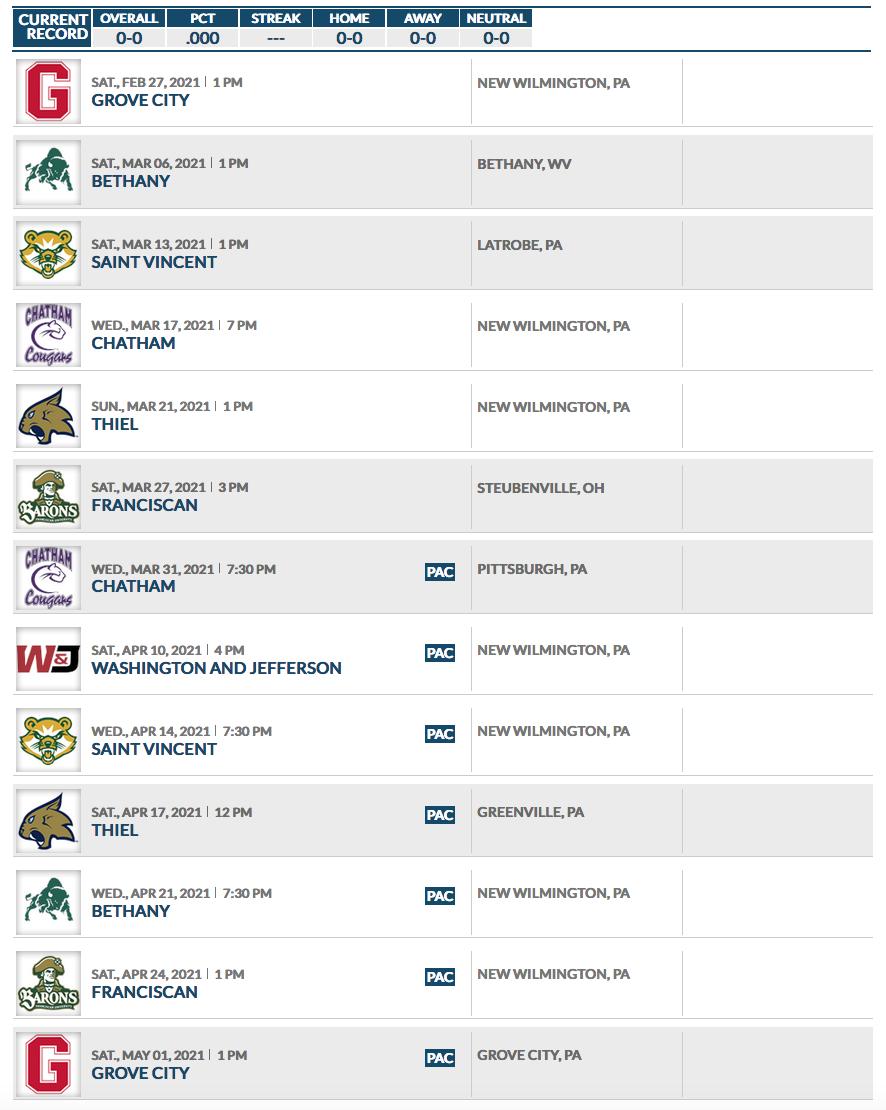 2921 Men's Lacrosse Schedule