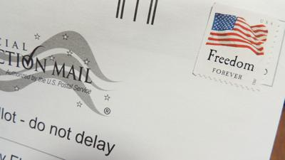 mail-in-ballot closeup with stamp