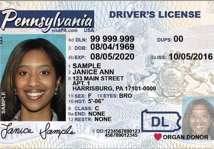 PA drivers license mockup