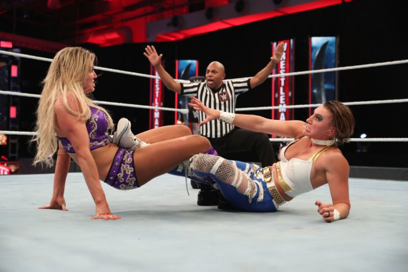 Charlotte Flair defeated Rhea Ripley to win the NXT Women's Championship. (Photo credit: WWE)