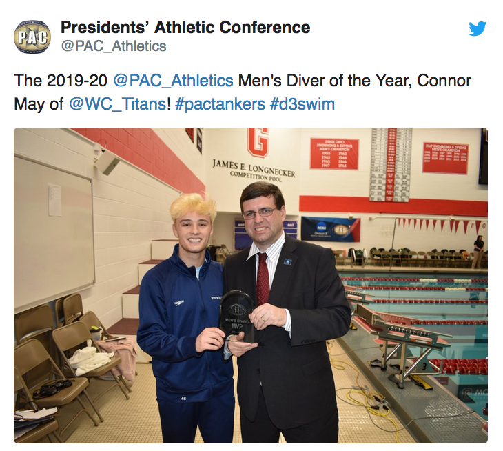 The 2019-20 @PAC_Athletics Men's Diver of the Year, Connor May of @WC_Titans! #pactankers #d3swim