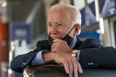 Democratic presidential candidate former Vice President Joe Biden speaks with United Steelworkers Union President Thomas Conway and school teacher Denny Flora of New Castle, Pa., aboard his train as it travels to Pittsburgh, Wednesday, Sept. 30, 2020. Biden is on a train tour through Ohio and Pennsylvania today. (AP Photo/Andrew Harnik)