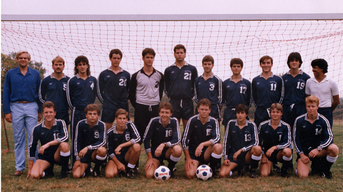 The 1986 Westminster Men's Soccer Varsity Team, the school's first in 35 years. Head Coach Kamal Houari, who helped the rebirth of the program, pictured top-far right.