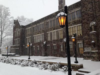 Old Main in snow