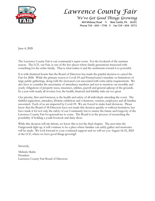 2020 Lawrence County fair canceled