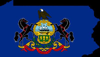 Pennsylvania Flag and Map