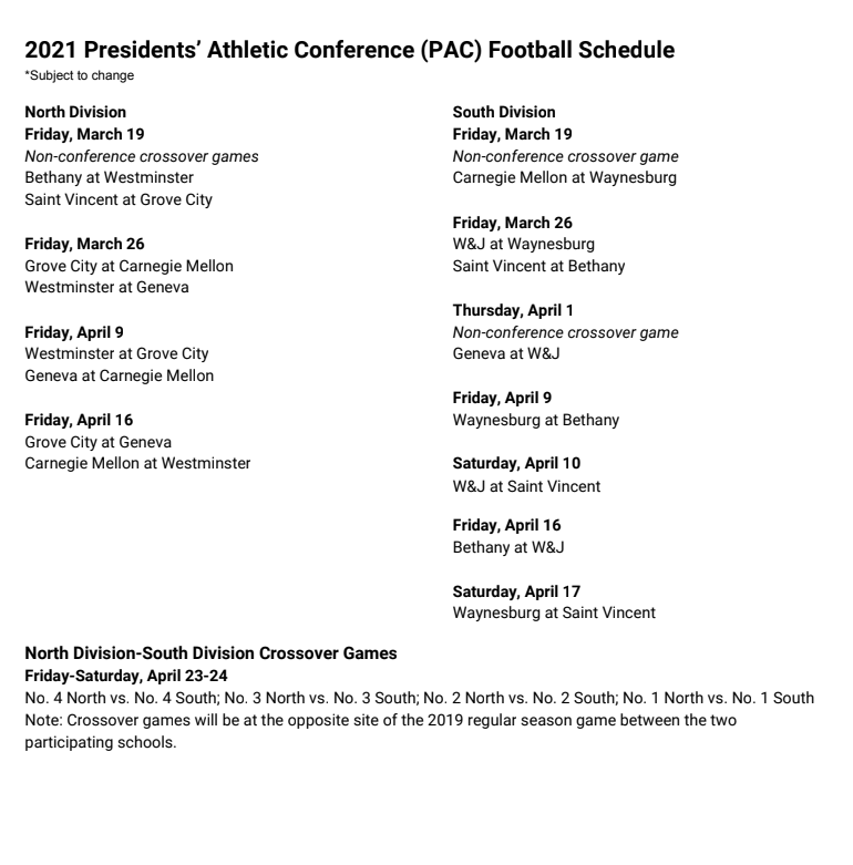 REvised football schedule from PAC