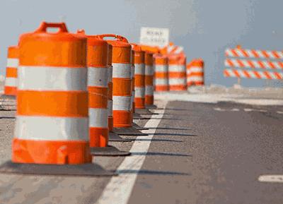 road work orange barrel