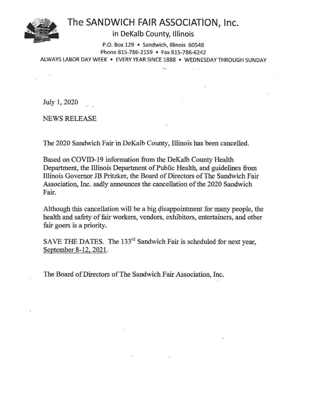 Sandwich Fair Cancellation Press Release