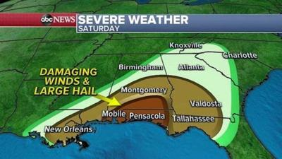 Another round of severe storms expected Saturday in South