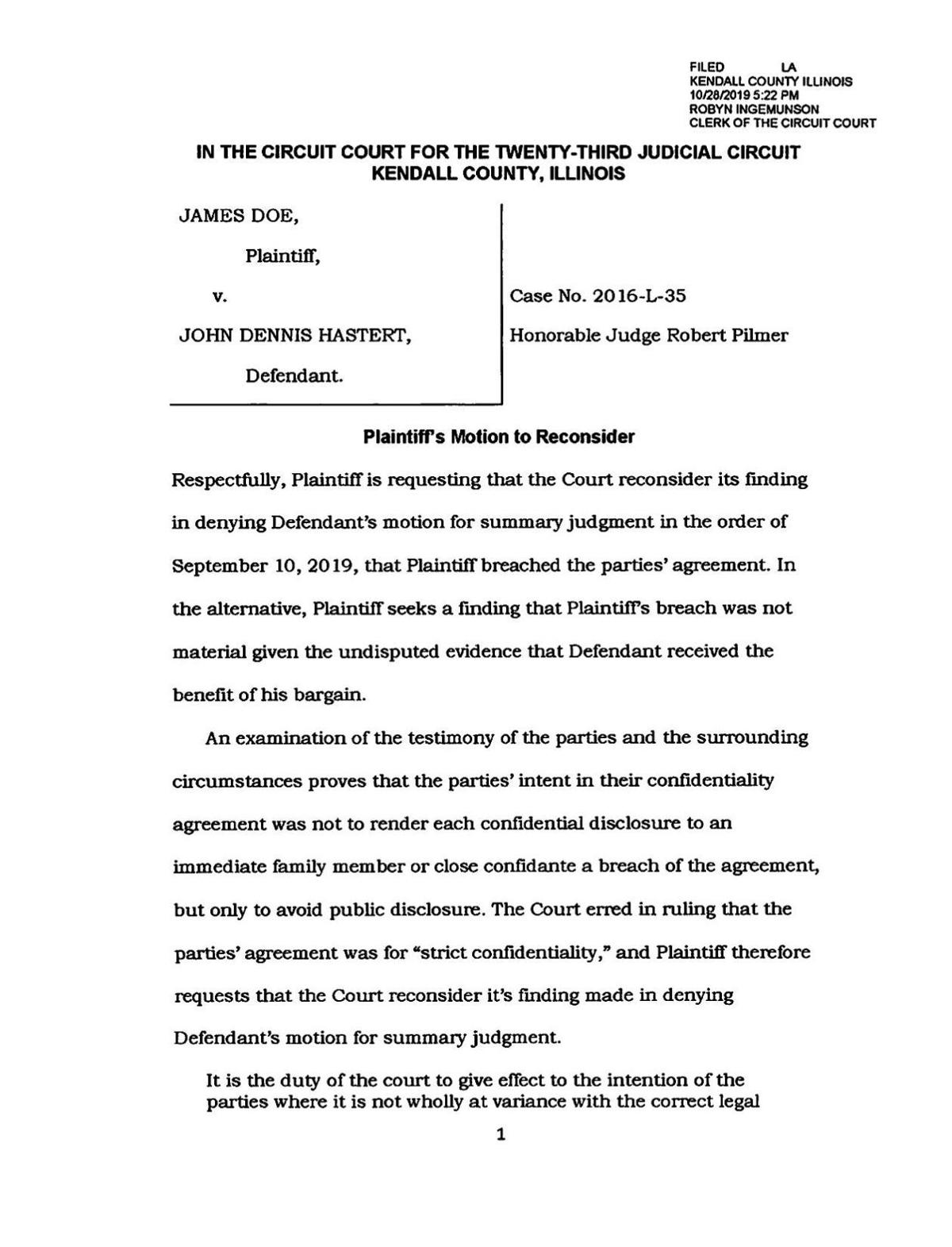 Doe Attorney's Motion to Reconsider