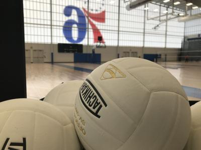 Volleyballs inside the 76ers Fieldhouse