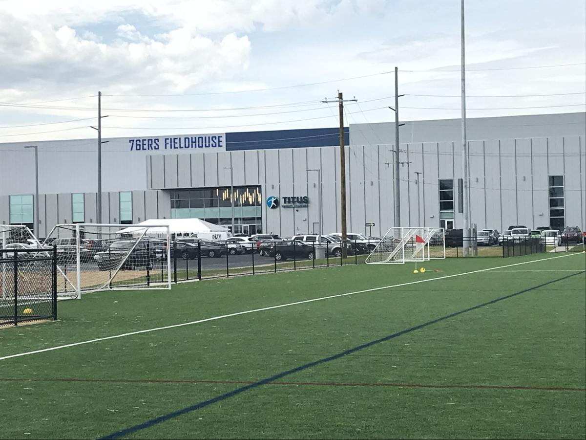The synthetic turf field outside the 76ers Fieldhouse