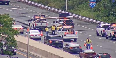 Crews trying to fill a sinkhole on Southbound I-95 south of 202 after Isaias crossed Delaware