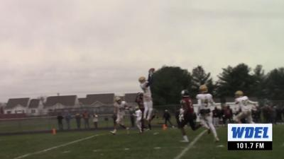 Salesianum's Rasheen Caulk intercepts a potential tying 2-point conversion play by Hodgson
