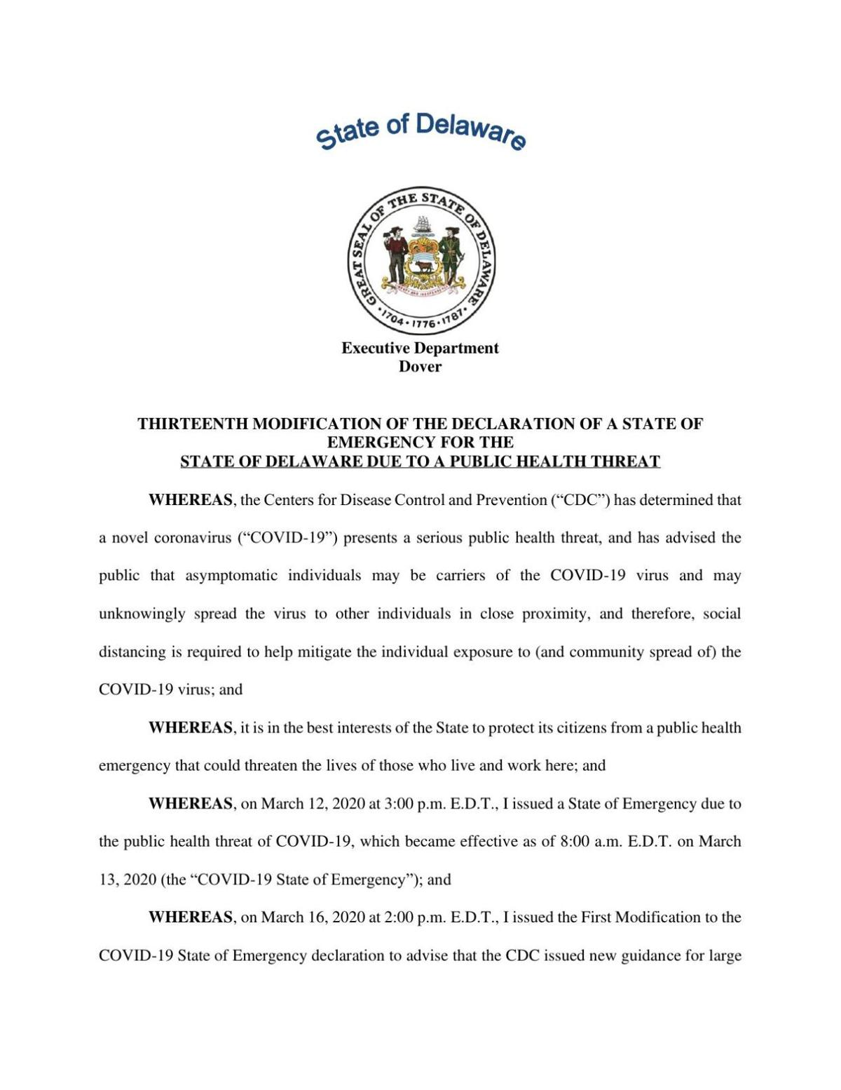 Delaware State of Emergency 13th Modification