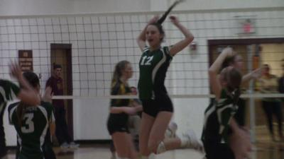 Archmere's Abby Kates celebrates after a block against Saint Mark's