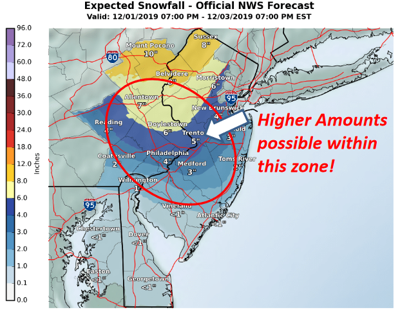 NWS Snowfall Map for December 1, 2019 PM