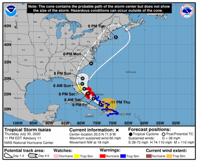 Tropical Storm Isaias - July 30, 2020 - 11pm Advisory