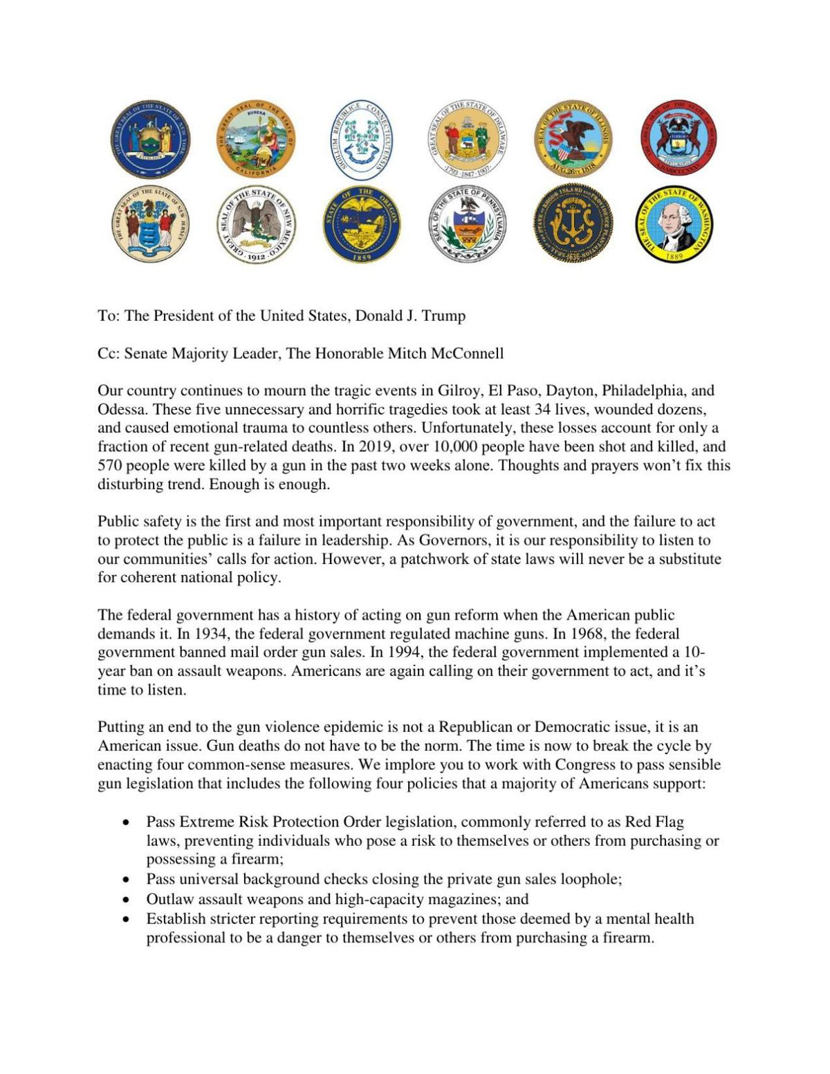 Governors' gun safety letter