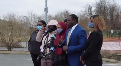 Members of Lymond Moses' family meet with the media following the release of body cam footage