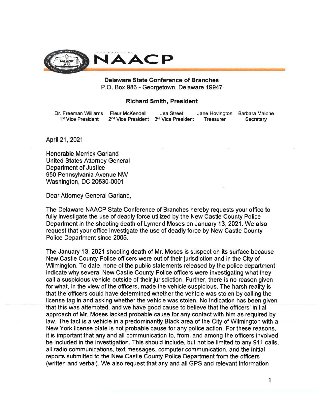 Delaware NAACP Letter to U.S. Attorney General Merrick Garland