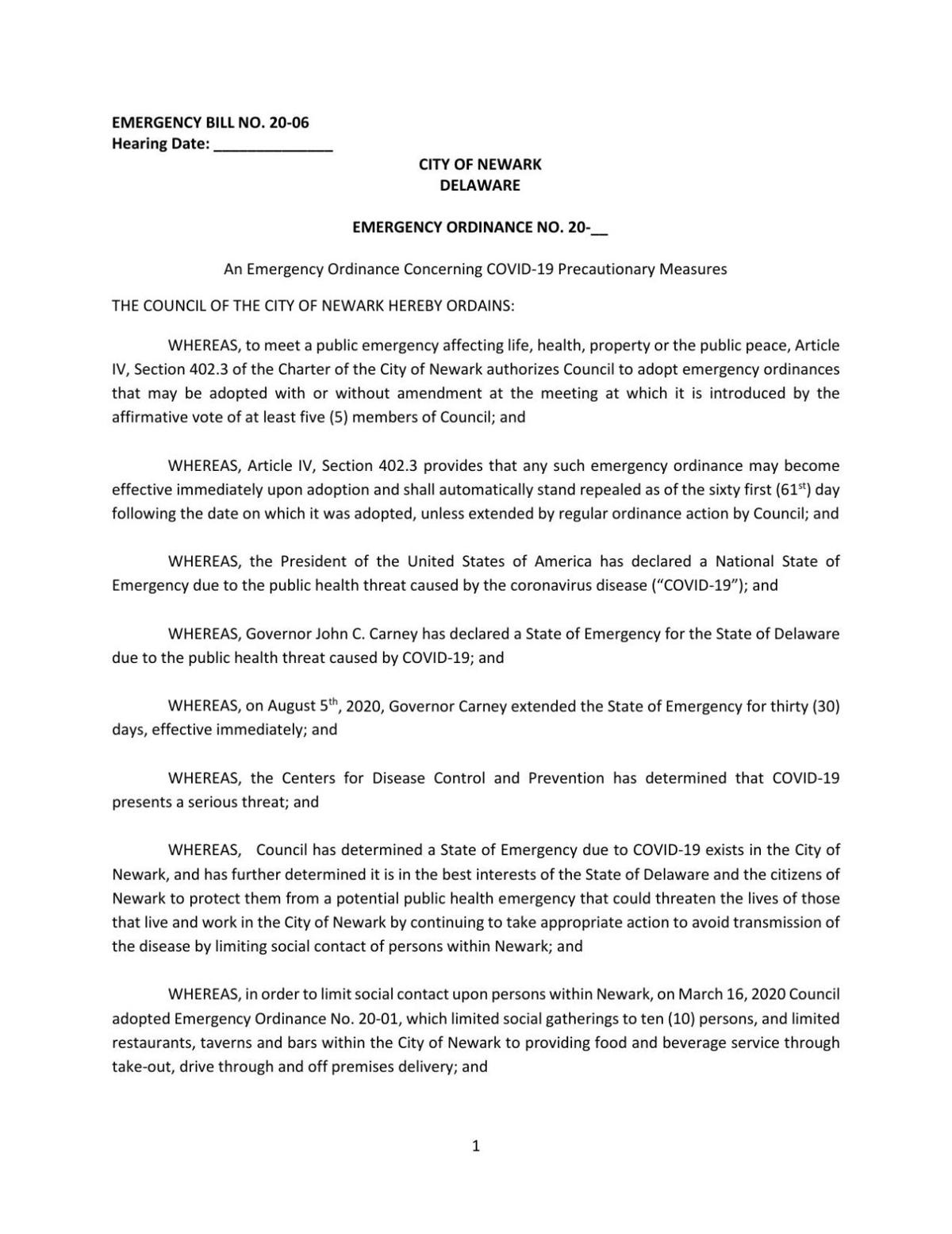 Newark emergency ordinance 082320