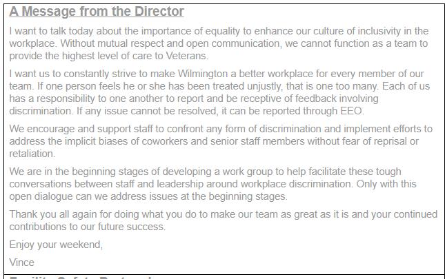 Vincent Kane VA message