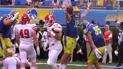 Delaware QB Pat Kehoe celebrates a TD against Cornell