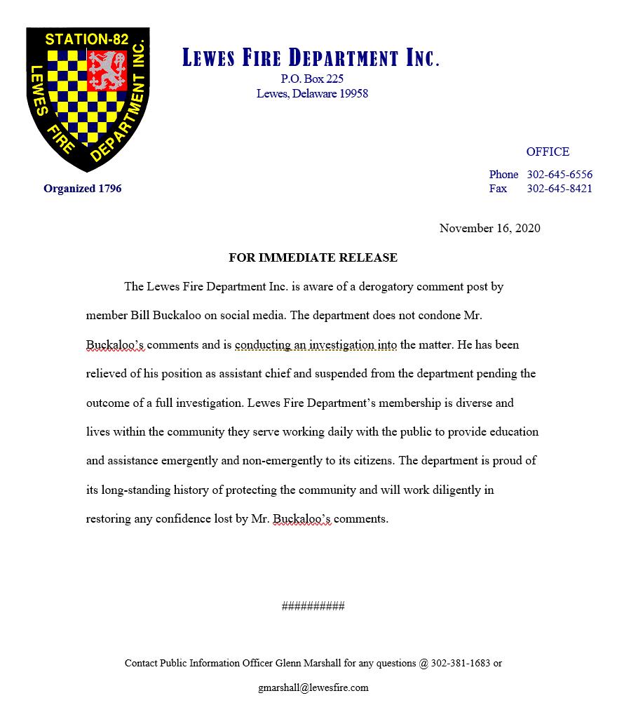 Lewes fire department statement buckaloo social media homophobic slur bernstein applebottom