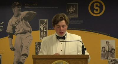 Sean Taggart speaks at the 2020 Salesianum Sports Banquet