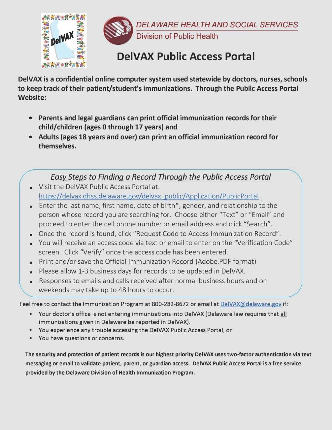 DelVAX portal instructions