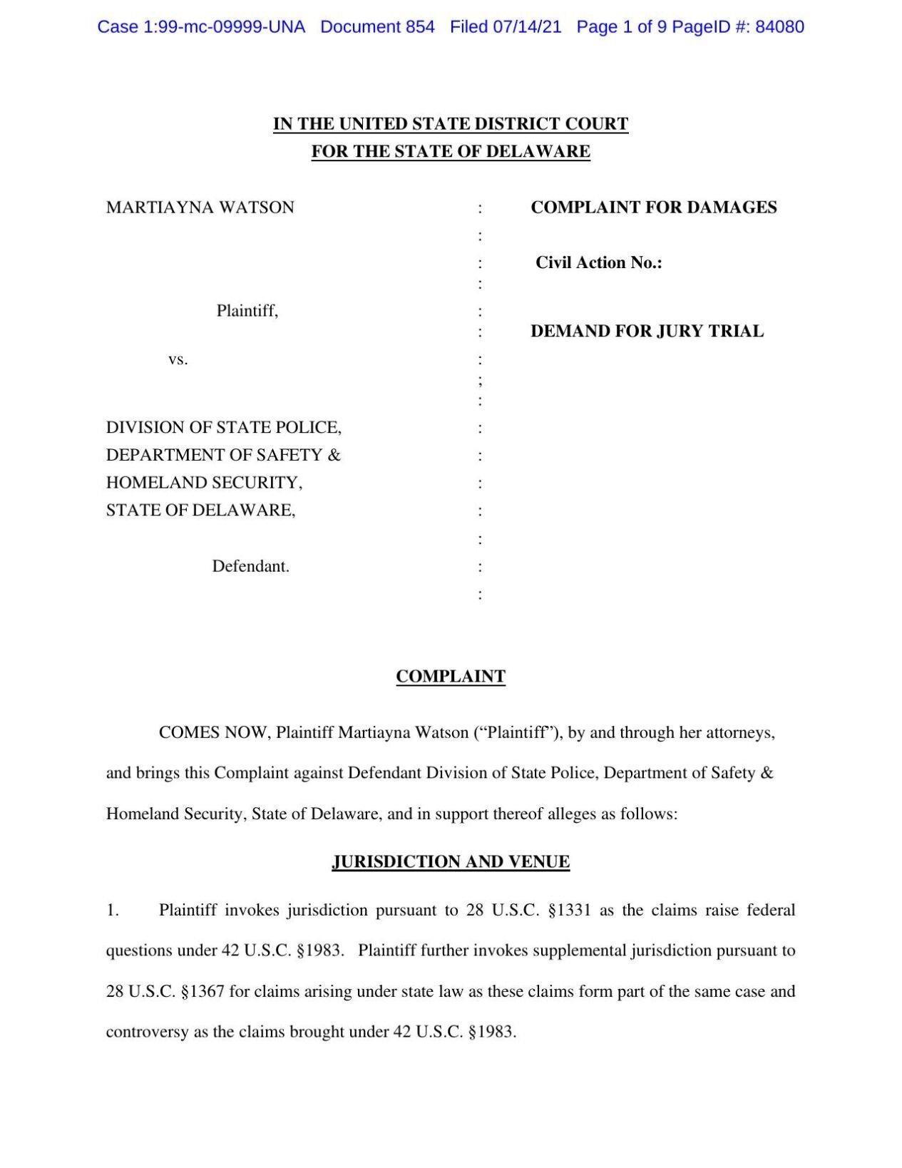 Watson v. Delaware lawsuit