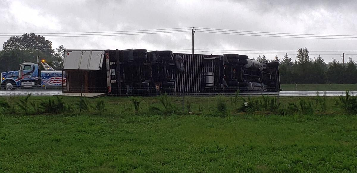 Tractor-trailers topple 080420
