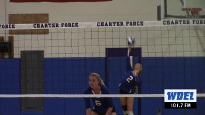 Wilmington Charter's Taylor Gillis hits an ace against DMA