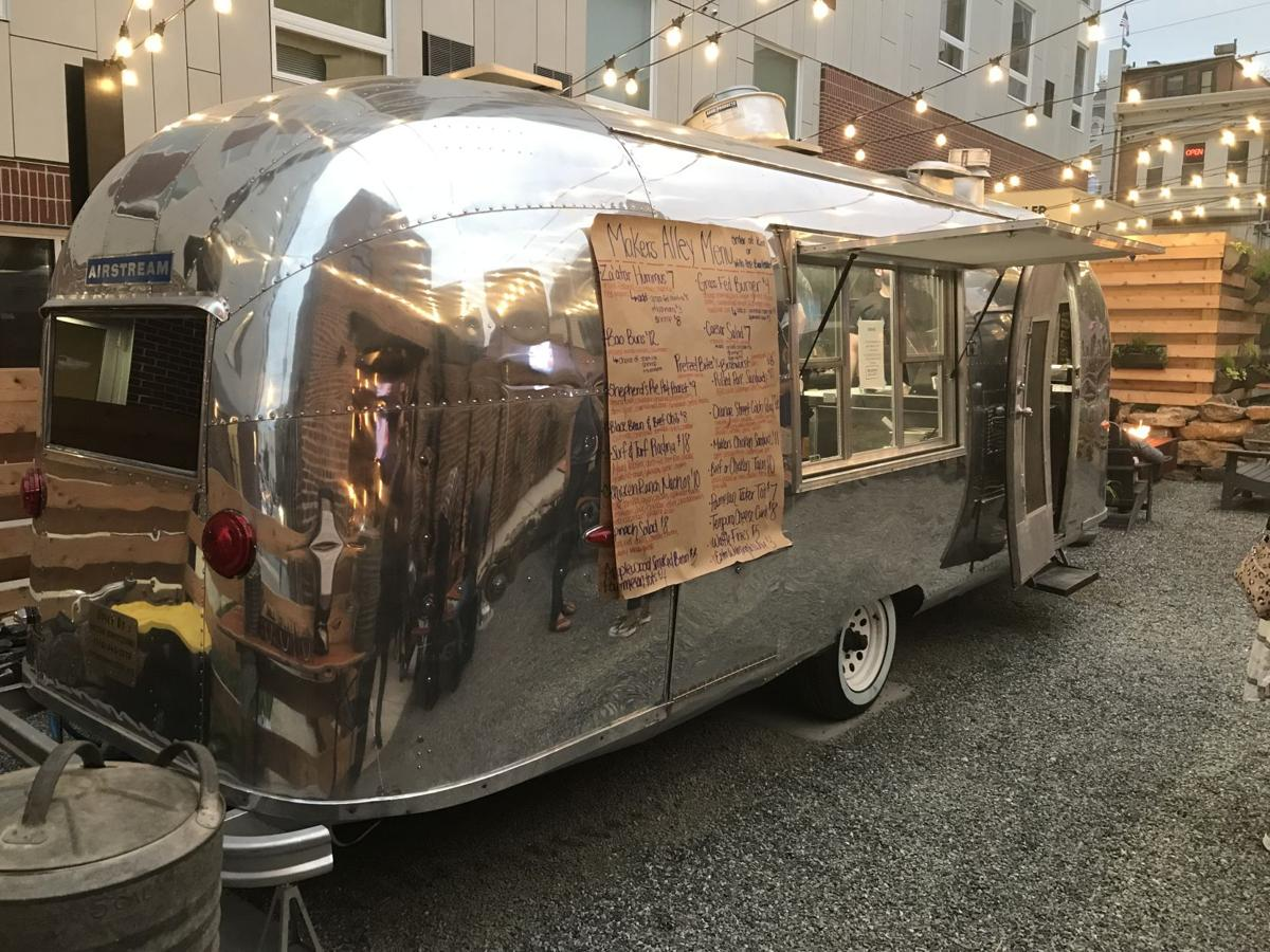 A converted airstream serves as the kitchen for Makers Alley in Wilmington