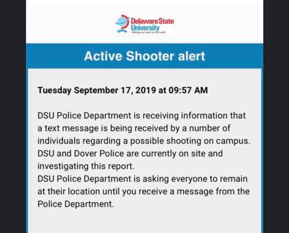 Delaware State University alert 091719