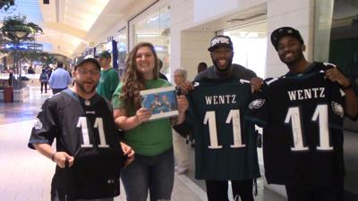check out a8d7d 83f4b VIDEO | Carson Wentz makes offseason pit stop to sell ...