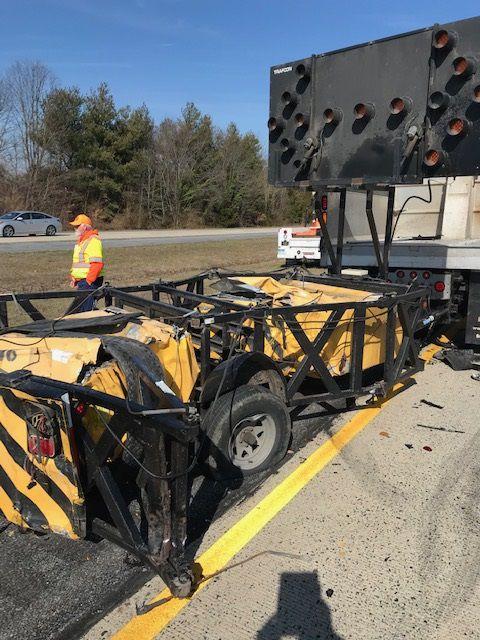 DelDOT truck hit Rt. 1