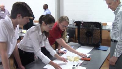 Sussex Academy students test a project during the problem solving competition at the 2018 Delaware Technology Student Association Conference