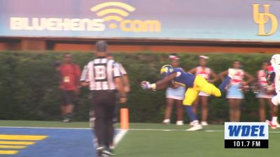 Delaware's Wes Hills scores a touchdown in the 2016 Delaware victory over DelState