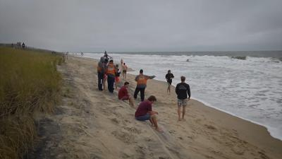 Bethany lifeguards work on a shunken Bethany Beach on May 25, 2020